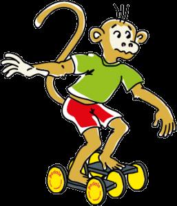 Fahrender Affe